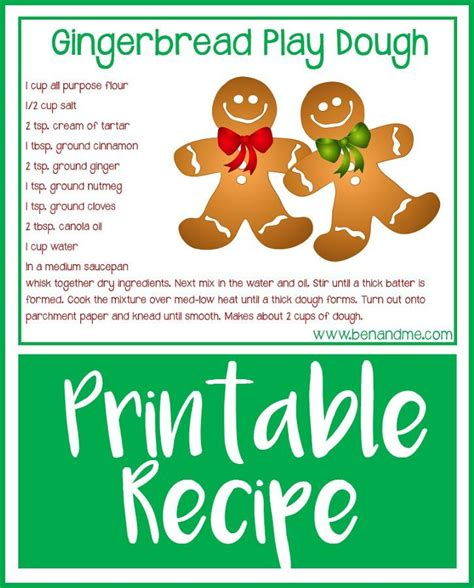 printable playdough recipes gingerbread play dough recipe free printable dough