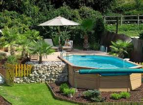 Modern garden ideas with wooden deck designs for above ground pools