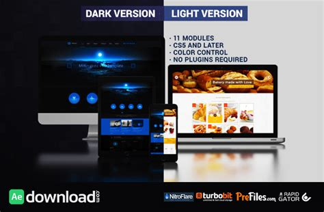 free template after effects presentation website presentation dark light videohive project