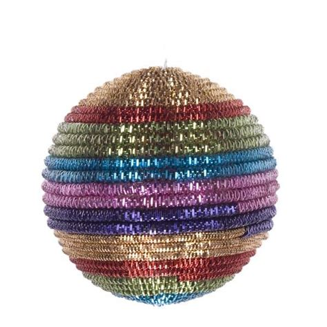 multi coloured striped cord bauble baubletimeuk