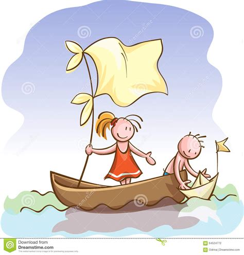 freedom roeiboot children in boat launch a toy paper ship stock vector