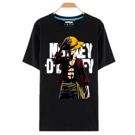 T Shirt Monkey D Luffy one black printing shirts