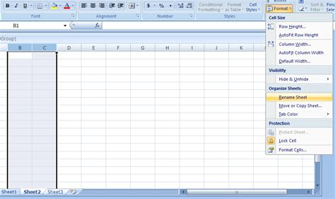 format microsoft excel 2007 name or rename a worksheet worksheet 171 workbook