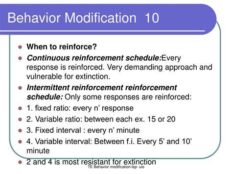 Behavior Modification Reinforcement by Ppt Behavior Modification 1 Powerpoint Presentation Id