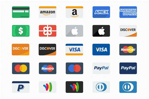 Flat Credit Card Icons ~ Icons on Creative Market