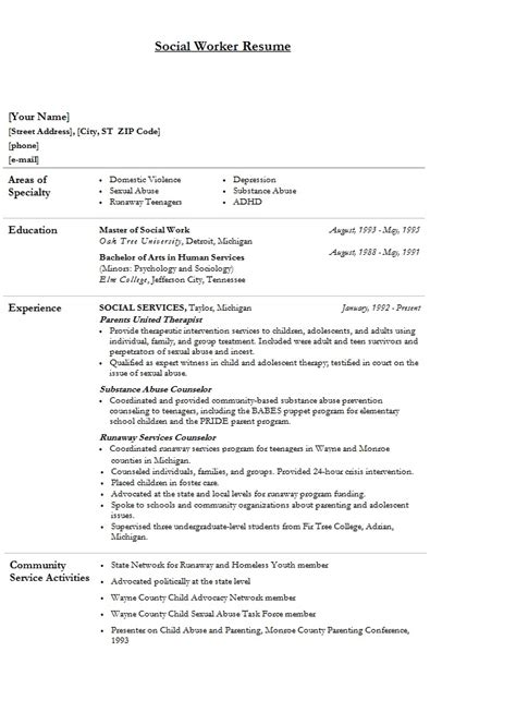 skills to put on a resume for social work social work resume sample