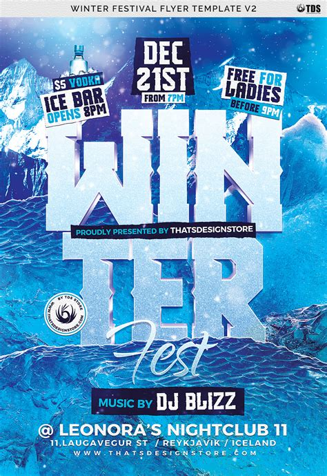 Winter Festival Flyer Template V2 By Thats Design Store Thehungryjpeg Com Flyer Template V2