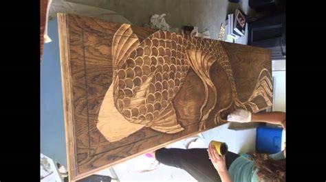 wood art stain decorative wood stain gradual stained koi fish dresser