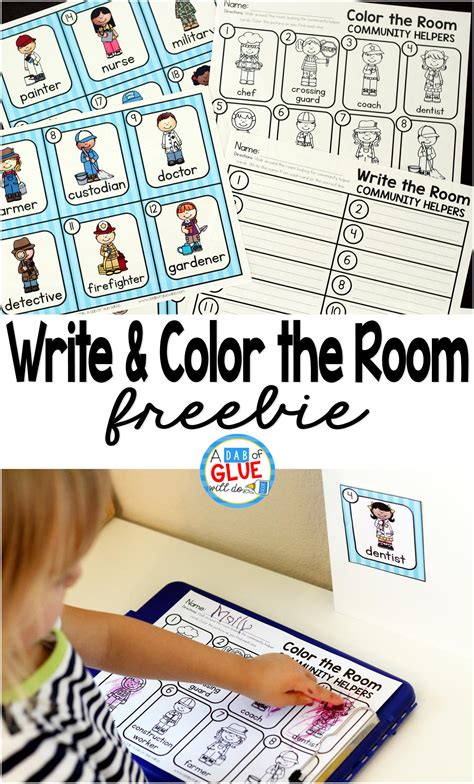 community helpers write and color the room a dab of glue