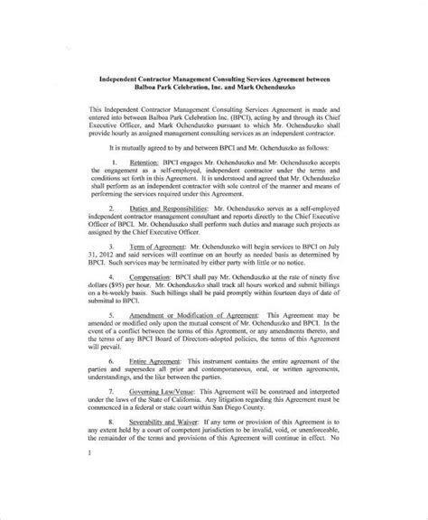 independent consulting agreement 6 sle independent consulting agreements sle templates