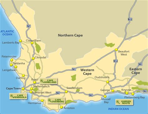 africa map cape of tourist map of western cape south africa