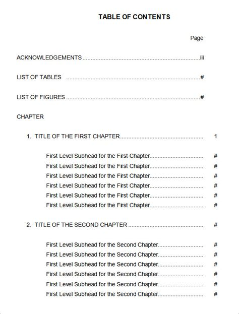 word table templates free microsoft word table of contents