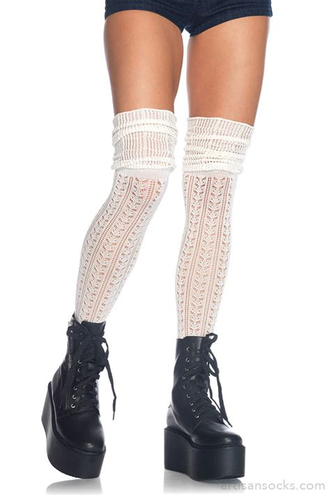 knit thigh high socks pointelle knit thigh high socks with scrunch top ivory