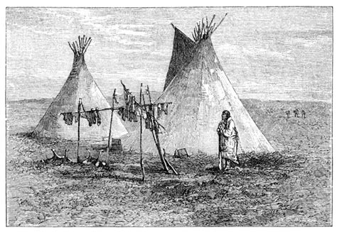 Jerked meat hanging outside native american teepee tent. Illustration originally