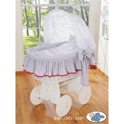 wicker crib cradle moses basket grey white