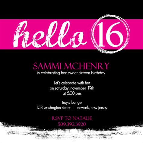 16th birthday card template invitations for sweet 16th birthday free