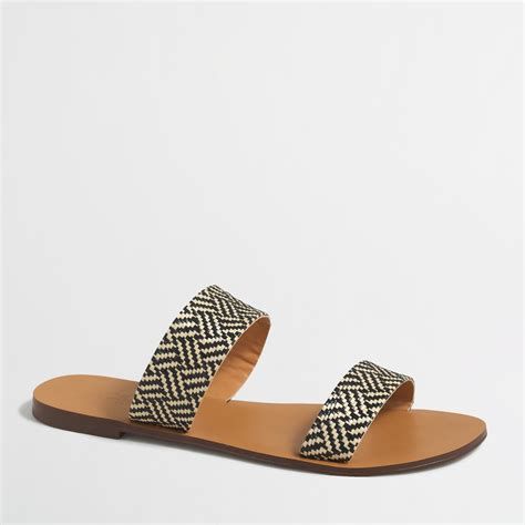 raffia sandals j crew factory raffia boardwalk sandals in black lyst