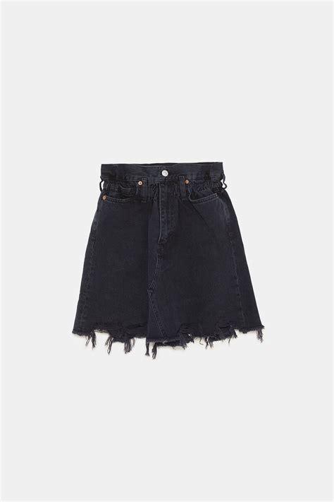 image   zw premium denim skirt  elastic waistband  zara