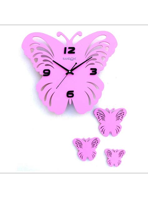 Butterfly Set Pink random butterfly set analog wall clock rc 0314 pink