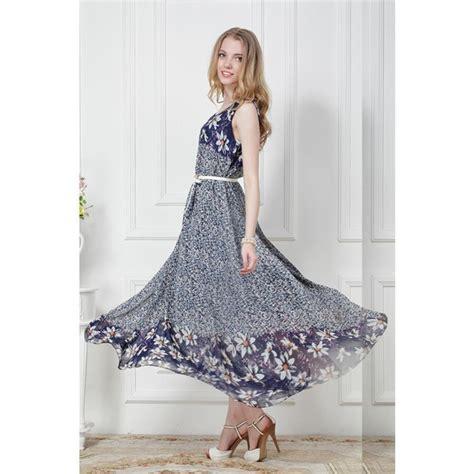 Maxi Free Belt blue sleeveless floral chiffon princess maxi dress with free belt