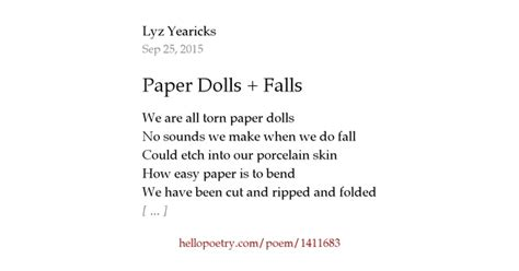Doll Poem Essay by Paper Dolls Falls By Lyz Yearicks Hello Poetry