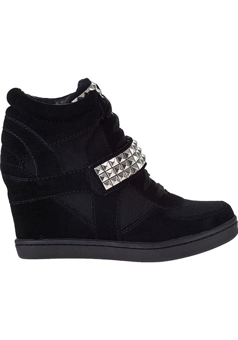 black sneaker wedge steve madden hamlit wedge sneaker black suede in black lyst