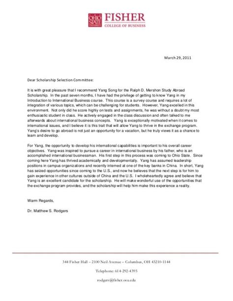 recommendation letter for scholarship letters of recommendation for scholarships template business