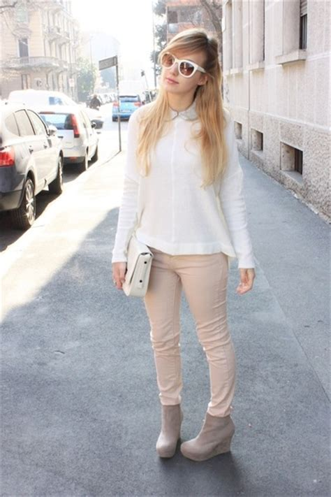 what to wear with light pink jeans cream zara sweaters white zara bags light pink zara