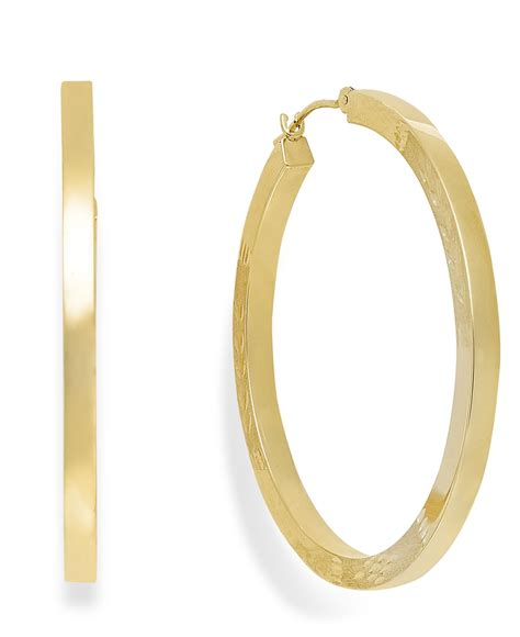 macy s high hoop earrings in 10k gold in metallic