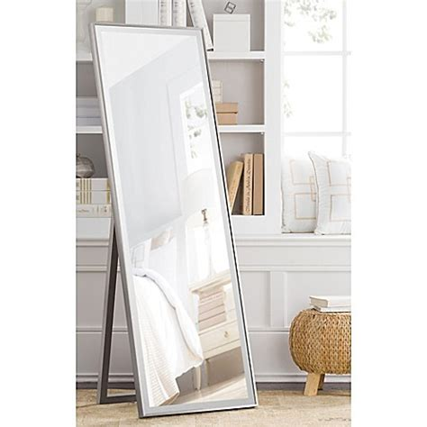 cheval 59 5 inch x 19 inch thin profile floor standing mirror in silver bed bath beyond