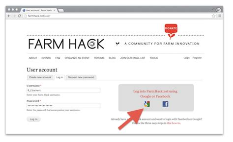 you can now log into farmhack net with your or