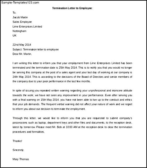 Cancellation Letter Due To Termination Letter To Employee Template Sle Templates