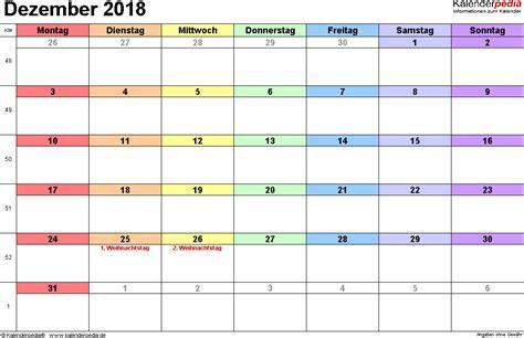 Kalender 2018 Excel Quer Kalender Dezember 2018 Als Excel Vorlagen