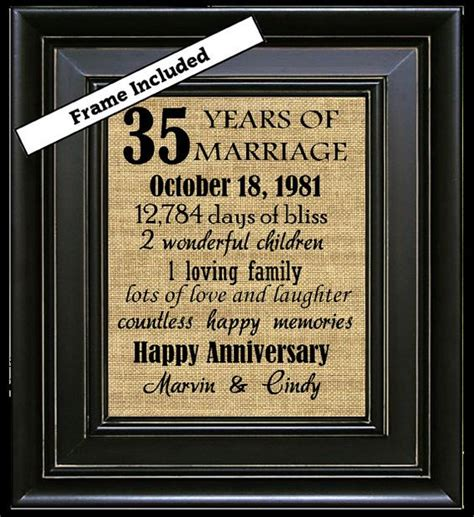 35th wedding anniversary 35th anniversary gifts by