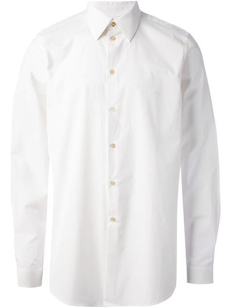 pattern on white shirt paul smith square pattern shirt in white for men lyst
