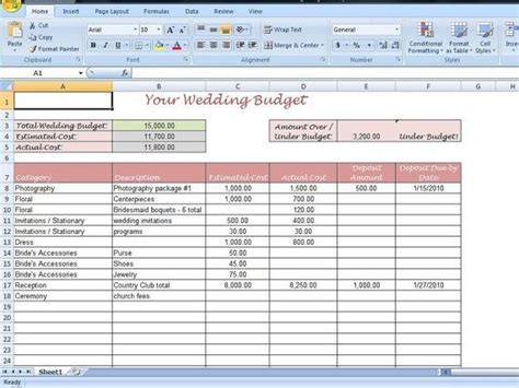 wedding budget spreadsheet template 10 best images about everything excel templates on