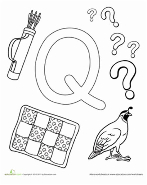 preschool coloring pages letter q q is for worksheet education com