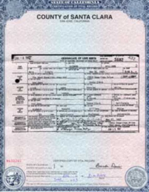 Santa Clara County Records Santa Clara County Birth Certificate California Get Vital Record Birth Certificate