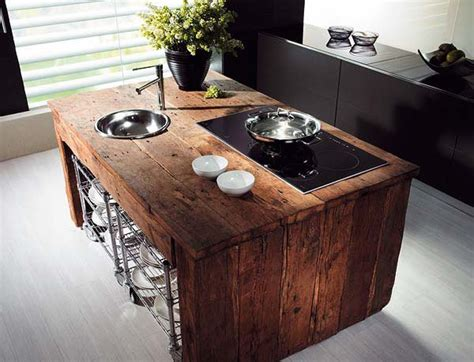 fancy reclaimed wood kitchen island