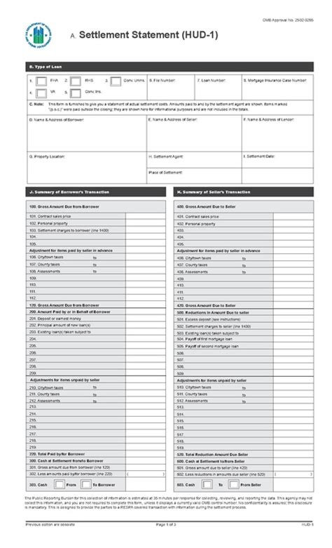 settlement statement template file hud 1 settlement statement current 2016 pdf