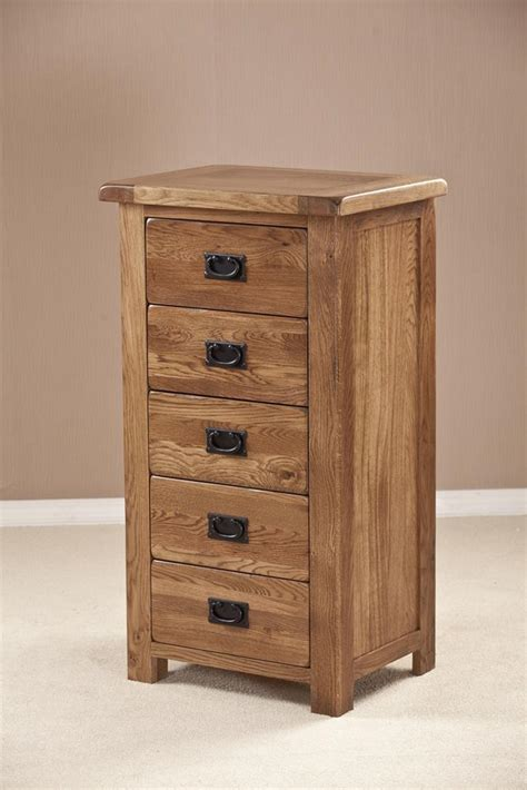 Rustic Oak Drawers by Rustic Oak 5 Drawer Tallboy Chest Oak World