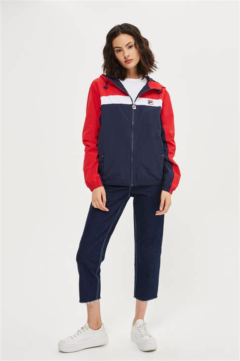color block jacket hooded colour block jacket by fila topshop