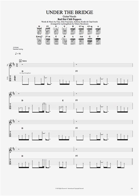 under the bridge chords by red hot chili peppers melody under the bridge by red hot chili peppers guitar vocals