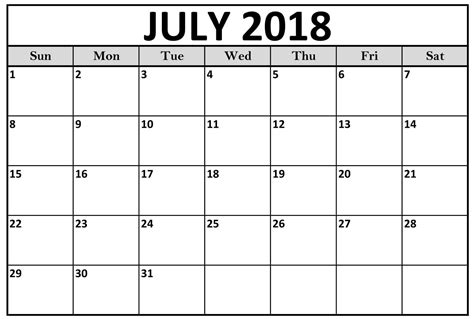 Printable July Calendar 2018 july 2018 calendar printable printable templates letter