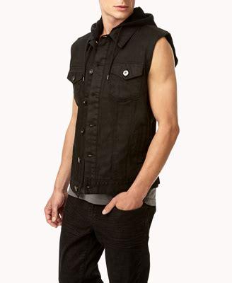 Hooded Denim Vest lyst forever 21 hooded denim vest in black for