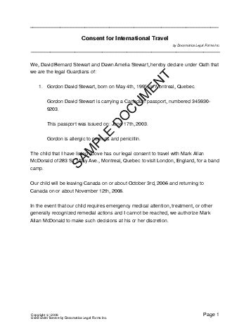 travel authorization letter for minor canada child travel consent canada templates