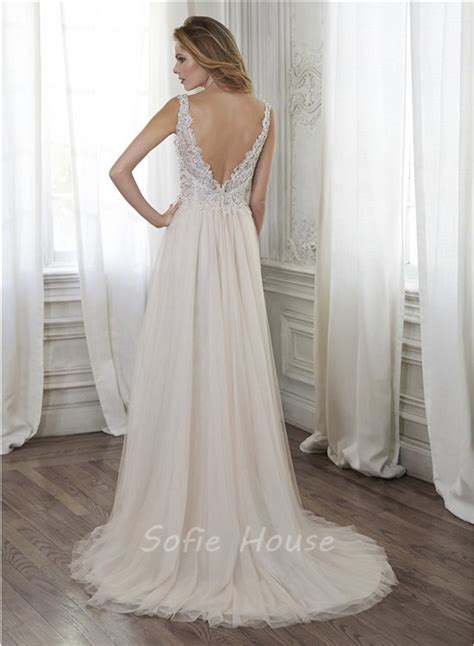 beaded backless wedding dress a line illusion neckline backless tulle lace beaded