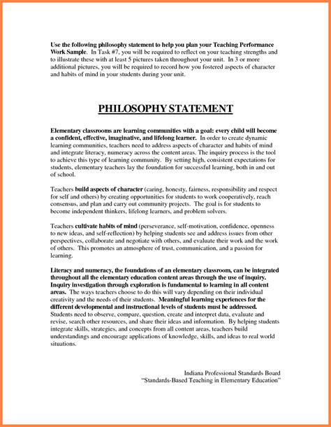 Self Statement Essay by Teaching Philosophy Essay Exle