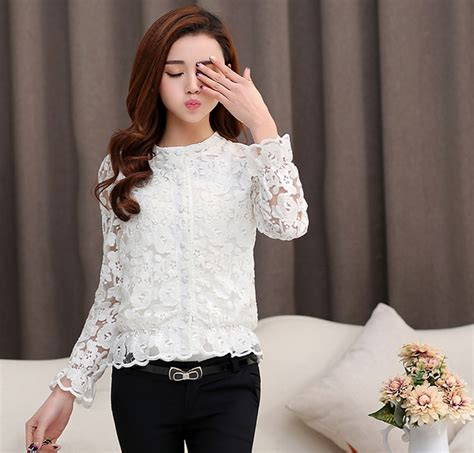 Blouse Korea 2015 korean design sleeve lace embroidery white blouse