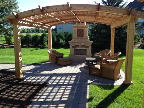 western cedar pergola with fireplace ideas for the